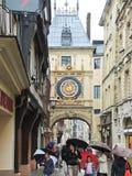 Tourists on steet Rue du Gros-Horloge, Rouen Royalty Free Stock Photo