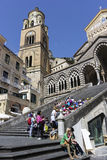 Tourists on the steps in front of Amalfi Cathedral in Italy Stock Image