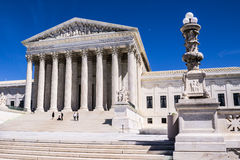 Tourists on Steps of Supreme Court Building in Washington, DC royalty free stock photos