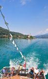 Tourists on the stern of the ship. Worthersee. Aust Royalty Free Stock Photography
