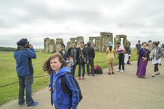 Tourists Stonehenge Stock Image