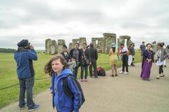 International Tourists Stonehenge Stock Image