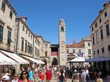 Tourists on Stradun street in Dubrovnik, Croatia Royalty Free Stock Photo