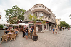 Tourists on the street Burgas in Bulgaria Stock Photography