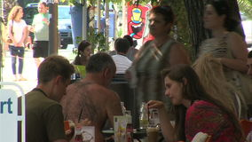 Tourists in a street cafe in Varna, Bulgaria stock footage