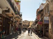 Tourists on street of Chania Stock Photo