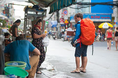 Tourists at street food stand, Vietnam Royalty Free Stock Photos