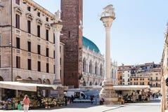 Tourists on street market on Piazza dei Signori Royalty Free Stock Images