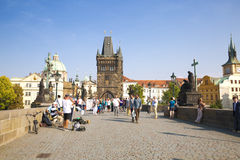 Tourists and street musicians on the Charles Bridge in Prague, Royalty Free Stock Photography