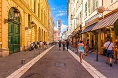 Tourists on the street in Nice, France. Stock Photo