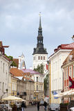 Tourists on the street of the Old city on June 16, 2012 in Tallinn, Estonia Stock Image
