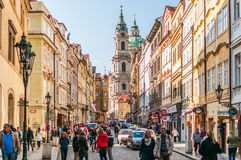 Tourists at street, St. Nicholas Church in background Stock Photography