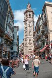 Tourists on street in Valencia, Spain stock images
