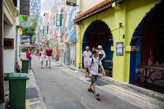 Tourists in the streets of the Arab quarter Royalty Free Stock Photography