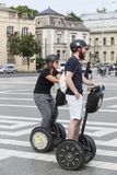 Tourists on the streets of Budapest excursion to Segway. BUDAPEST, HUNGARY. 23 JUNE, 2017:Tourists on the streets of Budapest excursion to Segway Royalty Free Stock Photo