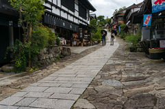 Tourists on the streets of Magome town. Japan Royalty Free Stock Image