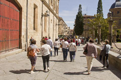 Tourists in the streets of Salamanca, Spain Royalty Free Stock Image