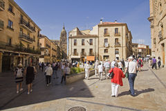 Tourists in the streets of Salamanca, Spain Stock Photography