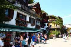 Tourists on the streets of town HALLSTATT, AUSTRIA . Royalty Free Stock Image