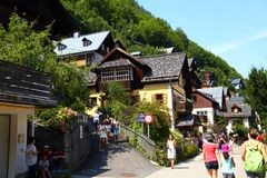 Tourists on the streets of town HALLSTATT, AUSTRIA . Royalty Free Stock Photography