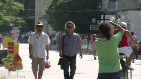 Tourists in the streets of Varna, Bulgaria stock footage