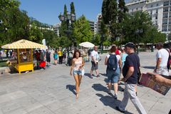 Tourists Stroll at Athens, Greece Stock Images