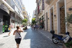 Tourists Stroll at Athens, Greece Royalty Free Stock Image