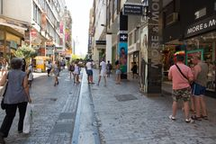 Tourists Stroll at Athens, Greece Stock Photography