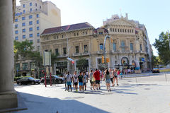 Tourists Stroll at Barcelona, Spain Stock Photo