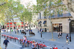 Tourists stroll and enjoy at Barcelona Stock Photos