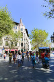 Tourists stroll and enjoy at Barcelona Stock Photo