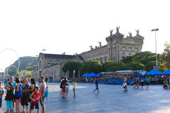 Tourists stroll and enjoy at Barcelona, Spain Royalty Free Stock Photography