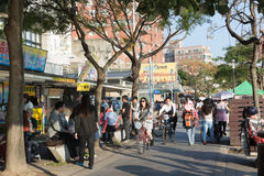 Tourists stroll in the side of the trail Tamsui Stock Photography