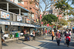 Tourists stroll in the side of the trail Tamsui Royalty Free Stock Photos