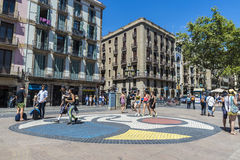 Tourists strolling through Les Rambles of Barcelona Royalty Free Stock Photo