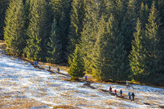 Tourists strolling on a sunny day  in Tatra Mountains, Poland Royalty Free Stock Photo