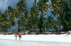 Tourists strolling on a white beach in Zanzibar Royalty Free Stock Photos