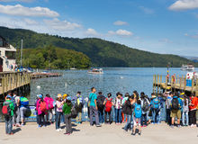 Tourists students and visitors English Lake District Bowness on Windermere Cumbria England UK Royalty Free Stock Photos