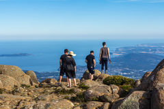 Tourists at the stunning summit of Mount Wellington overlooking Hobart and the south coast Stock Image