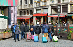 Tourists with suitcases in Brussels, Belgium Stock Photo