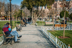 Tourists in Sultanahmet in Istanbul, Turkey Stock Photo