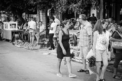 Tourists Of Summer Town Royalty Free Stock Photo