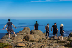 tourists at summit of Mount Wellington overlooking Hobart and the south coast Stock Photography
