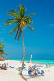 Tourists sunbathing at Varadero beach in Cuba Royalty Free Stock Images