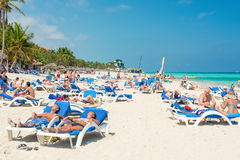 Tourists sunbathing at Varadero beach in Cuba Stock Photo