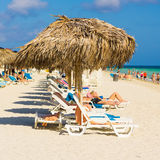 Tourists sunbathing at Varadero beach in Cuba Stock Image