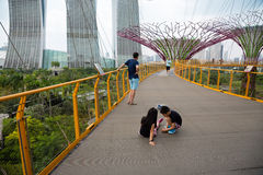 Tourists on a suspended track in Gardens by the Bay Royalty Free Stock Image