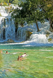 Tourists swim at Krka waterfalls, Croatia Stock Photography