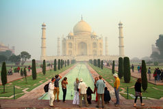 Tourists in Taj Mahal - famous mausoleum in India Stock Photo