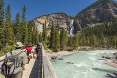 Tourists at Takakkaw Falls Yoho National Park, British Columbia, Canada Stock Photo
